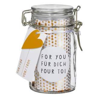 "Geschenkglas ""For You"""