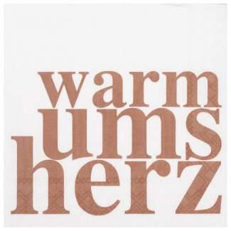 """Cocktailserviette """"warm ums Herz"""""""