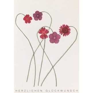 """Herzblüten Karte """"rote Blüten"""""""