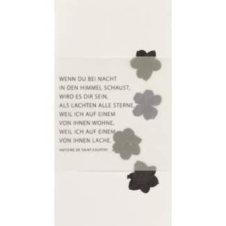 """Weiße Trauerkarte """"Blüten"""""""