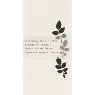 """Weiße Trauerkarte """"Blätter"""""""