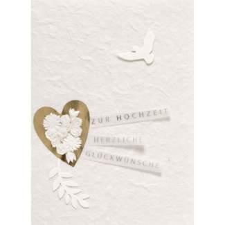 """Blütenhochzeit Karte """"goldenes Herz"""""""