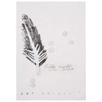 """Blütenhochzeit Karte """"goldene Feder"""""""
