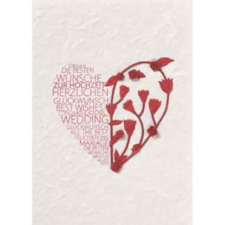 """Blütenhochzeit Karte """"rotes Herz"""""""