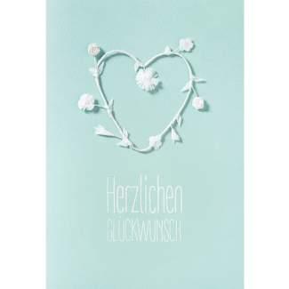 """weiße Blütenkarte """"Herzlichen Glückwunsch"""""""