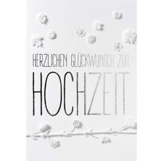 """weiße Blütenkarte """"Herzlichen Glückwunsch zur Hochzeit"""""""