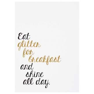 """Glitzer Postkarte """"Eat glitter for breakfast"""""""