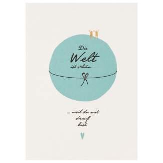 """Lieblingsmensch Postkarte """"Die Welt ist schön"""""""