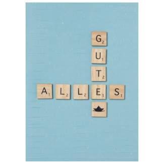 """Holzbuchstabenkarte """"Alles Gute"""""""