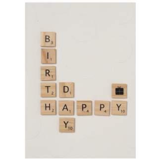 """Holzbuchstabenkarte """"Happy Birthday"""""""