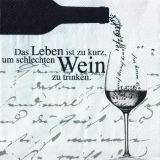"""Poesie et Table Vino Weinserviette """"Das Leben ist zu kurz"""""""