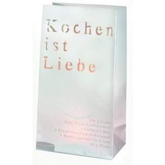 """Poesie et Table Lichttüte Set á 2 Stück """"Kochen ist Liebe"""""""