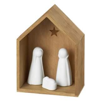 """Kleine Krippe """"aus Holz und Porzellan"""""""