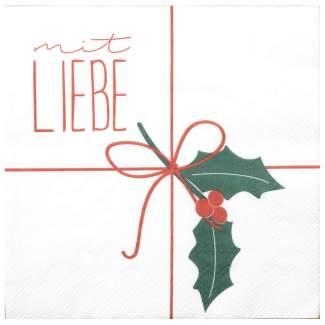 """Weihnachtsservietten """"Mit Liebe"""""""