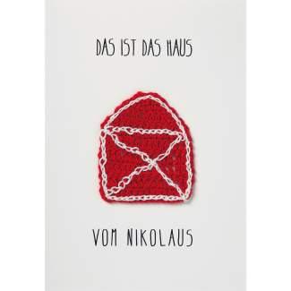 """Weihnachtskarte mit Strickelement """"Haus vom Nikolaus"""""""