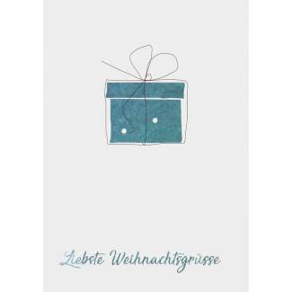 "Weihnachts Aquarell Postkarte ""Geschenk"""