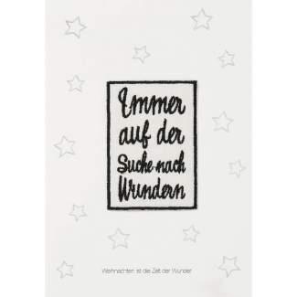 """Weihnachtsaufnäher Karte """"Immer auf der Suche"""""""