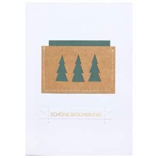 """Genähte Weihnachtskarte """"Schöne Bescherung"""""""