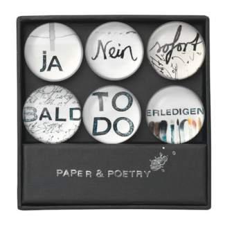 "Paper & Poetry. Magnete Set ""ja, nein, sofort"""