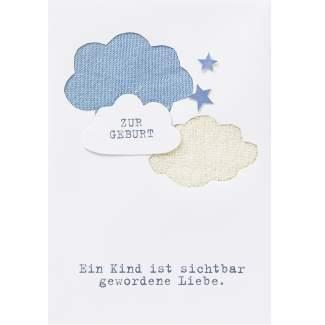 """Babykarte blau """"Ein Kind ist sichtbar..."""""""