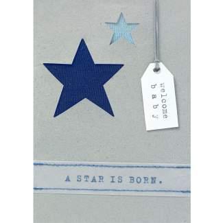 """Babykarte blau """"A star is born"""""""