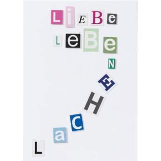 """Buchstaben Collagen Karte """"Liebe Leben Lachen"""""""