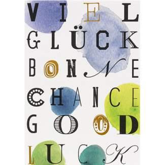 """Buchstaben Postkarte """"Viel Glück"""""""