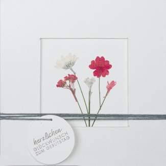 """Blumenpassepartout Karte """"Herzlichen Glückwunsch"""""""