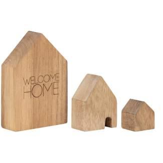 """Holzhäuser Set aus 3 """"Welcome home"""""""