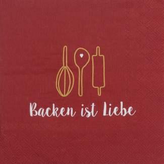 """Weihnachtsservietten """"Backen ist Liebe"""""""
