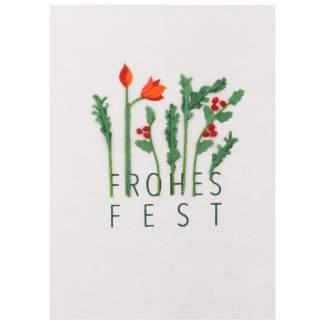 """Weihnachts Papierkunstkarte """"Frohes Fest"""""""