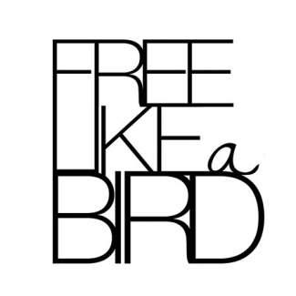"""Metallschrift. Schwarz """"Free like a bird"""""""
