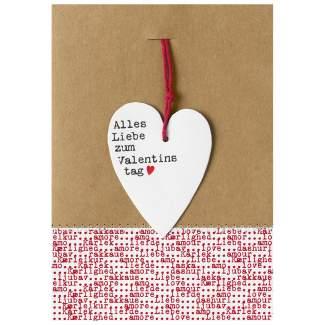 """Herzanhängerkarte rot """"Zum Valentinstag"""""""