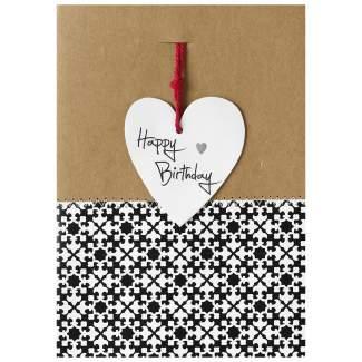 """Herzanhängerkarte schwarz """"Happy Birthday"""""""