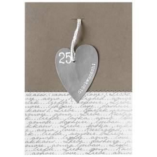 """Herzanhängerkarte grau """"25 - Glückwunsch"""""""