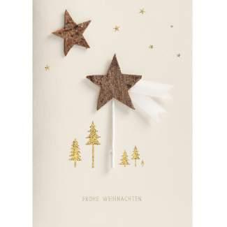 """Holzstern Karte """"Frohe Weihnachten"""""""
