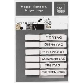 """Paper & Poetry. Magnetklammern """"Wochentage"""""""