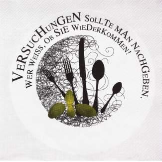 """Poesie et Table. Papierservietten """"mit Besteckmotiv schwarz/grün"""""""