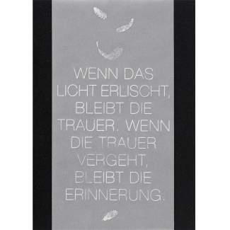 """Trauerkarte """"Wenn das Licht"""""""