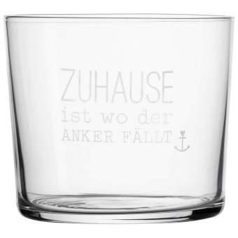 """Meer als Worte. Wasserglas """"Zuhause ist wo der..."""""""
