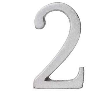 "Aluminium Zahl ""2"""