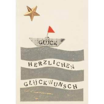 """Origami Karte """"Boot mit Herzlichen Glückwunsch"""""""