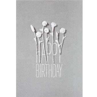 "weiße Blütenkarte ""Happy Birthday"""