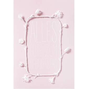 """weiße Blütenkarte """"Alles Gute zum Geburtstag"""""""