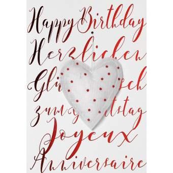 "Gazeanhänger Karte ""Happy Birthday 3-sprachig"""