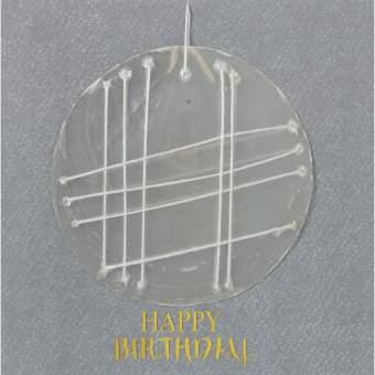 "Capiz Stickerei Karte ""Happy Birthday"""