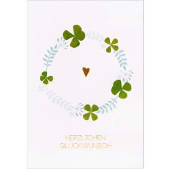 """Glücksklee Karte """"Herzlichen Glückwunsch"""""""
