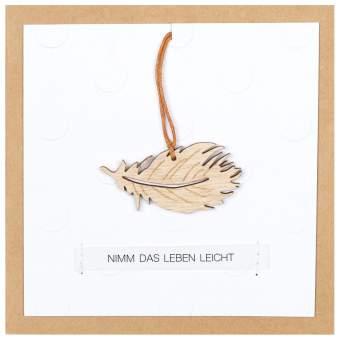 """Holzanhängerkarte """"Nimm das Leben leicht"""""""