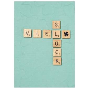 "Holzbuchstabenkarte ""Viel Glück"""