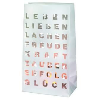 "Lichttüte, Set à 2 Stück inkl. 2 Teelichtgläser ""Leben, Lieben, Lachen"""